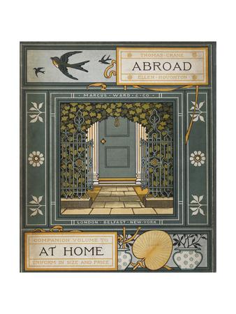 Back Cover Of 'Abroad'. Coloured Illustration Showing a Door. Giclée-tryk af Thomas Crane