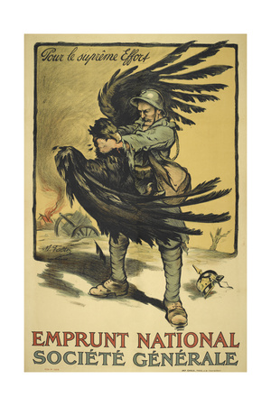 Image Of a French Soldier Strangling a Large Bird (Representing Germany ). Giclee Print