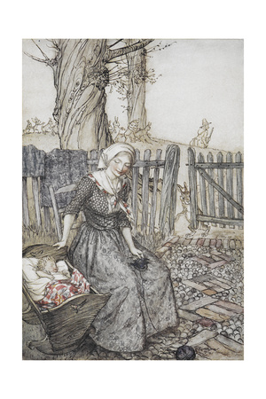 Bye, Baby Bunting.' Mother With Her Baby in a Cot. Father Going Hunting in the Background Giclee Print by Arthur Rackham