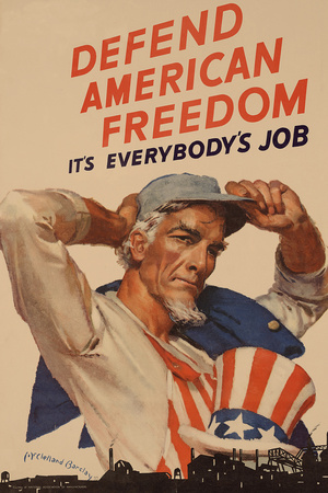 Uncle Sam Defend American Freedom It's Everybody's Job WWII War Propaganda Prints