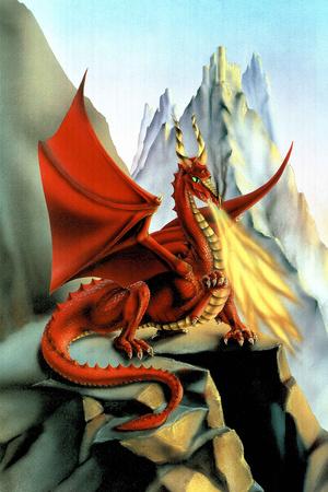 Sue Dawe Red Fire Dragon Fantasy Posters by Sue Dawe
