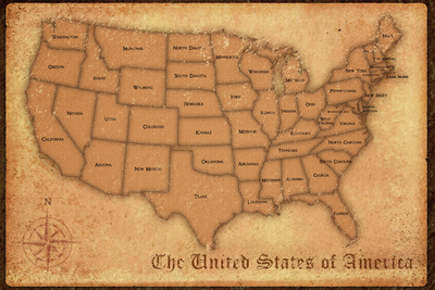 United States Vintage Style Map Posters