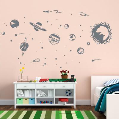 Solar System Grey Wall Decal Wall Decal