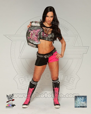 A.J. with the Divas Championship Belt 2013 Posed Photo