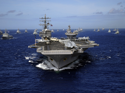 Aircraft Carrier USS Ronald Reagan Leads a Mass Formation of Ships Through the Pacific Ocean Photographic Print by Stocktrek Images