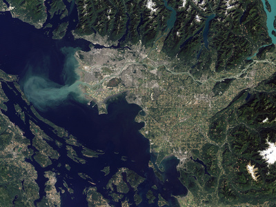 Satellite View of the Frasier River, British Columbia, Canada Photographic Print by Stocktrek Images