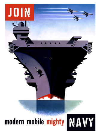 Vintage World War II Poster of An Aircraft Carrier with Three Planes Flying Overhead Photographic Print by Stocktrek Images