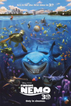 Finding Nemo Disney film poster; mean sharks; one of Disney's greatest movies of all time.