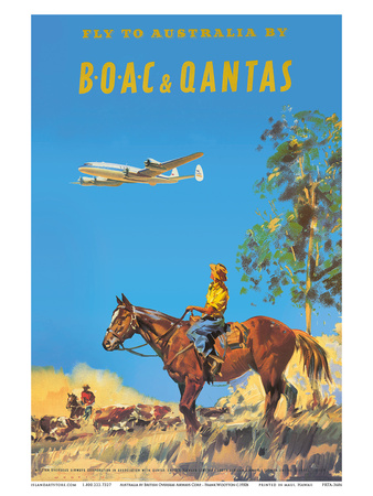 Fly to Australia by British Overseas Airways Corporation (BOAC) and Qantas Airlines Print by Frank Wootton