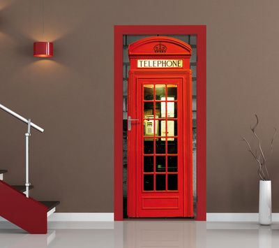 British Phone Box Door Wallpaper Mural Wallpaper Mural