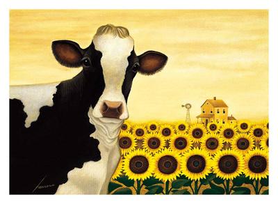Sunflower Cow Poster by Lowell Herrero