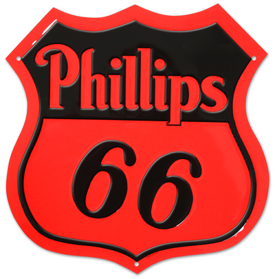 Phillips 66 Red Die-cut Tin Sign Tin Sign