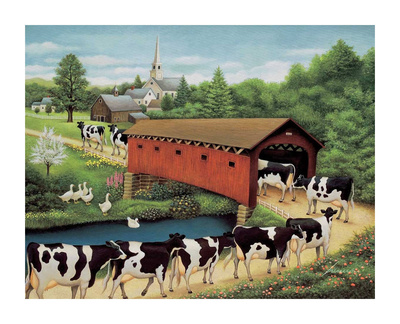 Cows in West Arlington Posters by Lowell Herrero