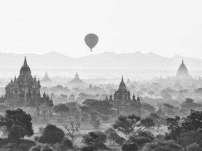 Balloon Over Bagan at Sunrise, Mandalay, Burma (Myanmar) Photographic Print by Nadia Isakova