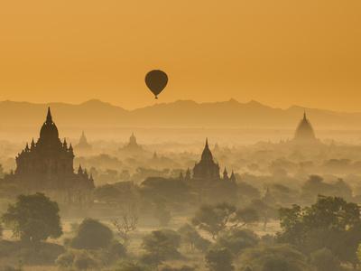 Bagan at Sunset, Mandalay, Burma (Myanmar) Photographic Print by Nadia Isakova