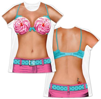 Womens: Cupcake Bikini Costume Tee Womens Sublimated