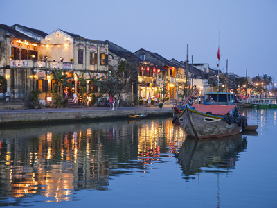 Vietnam, Hoi An, Evening View of Town Skyline and Hoai River Photographic Print by Steve Vidler