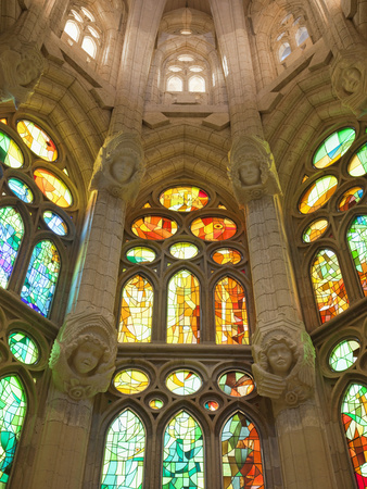 Spain, Barcelona, Sagrada Familia, Stained Glass Windows Photographic Print by Steve Vidler