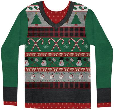 Long Sleeve: Ugly Xmas Sweater Costume Tee Long Sleeves