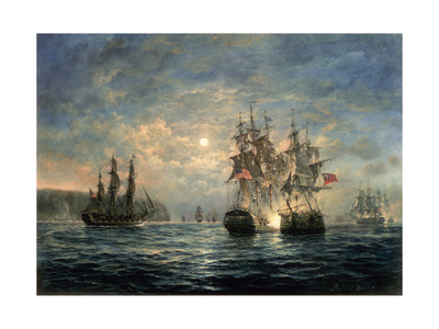 "Engagement Between the ""Bonhomme Richard"" and the ""Serapis"" Off Flamborough Head, 1779 Giclee Print by Richard Willis"