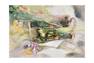 Basket of Dried Flowers Giclee Print by Claire Spencer
