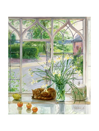 Irises and Sleeping Cat, 1990 Giclee Print by Timothy Easton