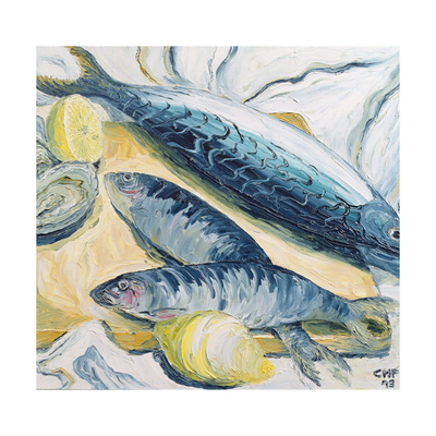 Mackerel with Oysters and Lemons, 1993 Giclee Print by Carolyn Hubbard-Ford