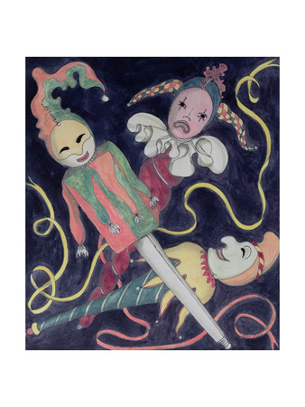 The Jester's Puppets Giclee Print by Carolyn Hubbard-Ford