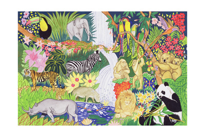 Jungle Animals Lámina giclée por Tony Todd