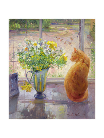 Striped Jug with Spring Flowers, 1992 Giclée-tryk af Timothy Easton