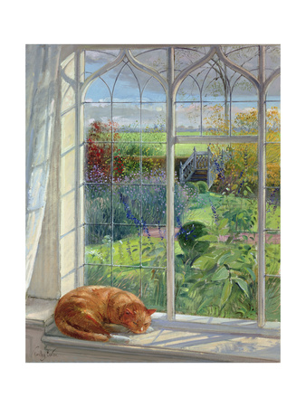 Sleeping Cat and Chinese Bridge Giclee Print by Timothy Easton