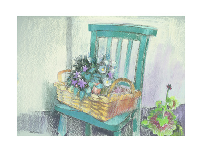 Campanulas and Daisies Giclee Print by Claire Spencer