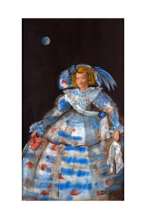Menina with Blue Moon Giclee Print by Marisa Leon