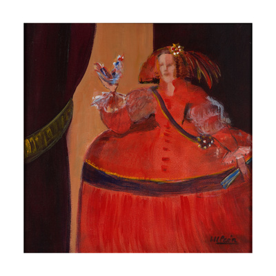Menina in Red with Small Cockerel Giclee Print by Marisa Leon