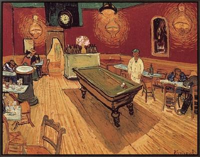 Van Gogh: Night Cafe, 1888 Framed Canvas Print by Vincent van Gogh
