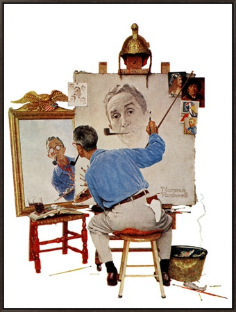"""""""Triple Self-Portrait"""", February 13,1960 Framed Canvas Print by Norman Rockwell"""