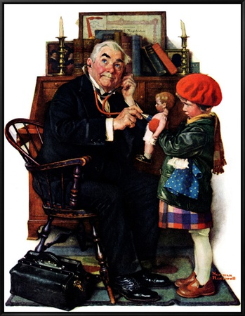 """""""Doctor and the Doll"""", March 9,1929 Framed Canvas Print by Norman Rockwell"""