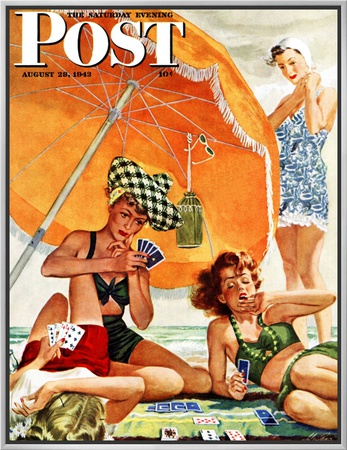 """""""Card Game at the Beach,"""" Saturday Evening Post Cover, August 28, 1943 Framed Canvas Print by Alex Ross"""