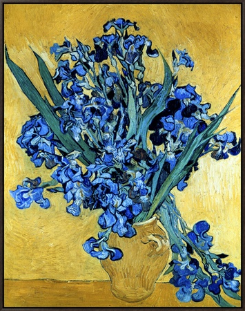 Vase of Irises Against a Yellow Background, c.1890 額入りキャンバスプリント : フィンセント・ファン・ゴッホ