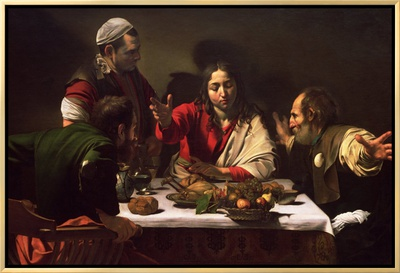 The Supper at Emmaus, 1601 Framed Canvas Print by  Caravaggio