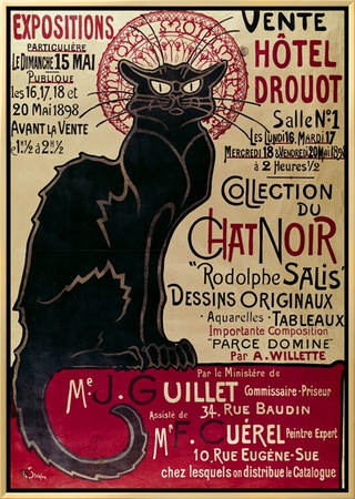 Poster Advertising an Exhibition of the Collection Du Chat Noir Cabaret at the Hotel Drouot, Paris Framed Canvas Print by Théophile Alexandre Steinlen