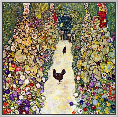Gardenpath with Hens, 1916 Framed Canvas Print by Gustav Klimt