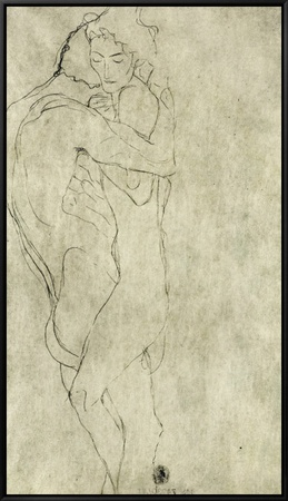 Lovers, Black Crayon (1908) Framed Canvas Print by Gustav Klimt