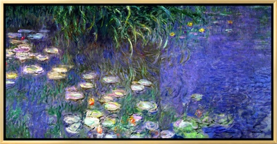 Waterlilies (Les Nympheas), Study of the Morning Water 額入りキャンバスプリント : クロード・モネ