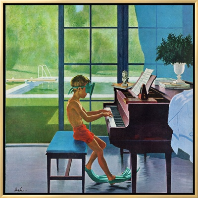 """""""Poolside Piano Practice,"""" June 11, 1960 Framed Canvas Print by George Hughes"""