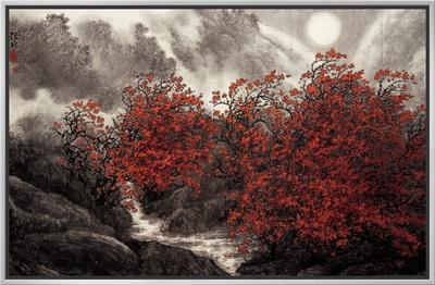 Autumn Mist Framed Canvas Print by Baogui Zhang