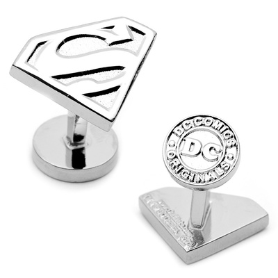 Silver Superman Shield Cufflinks Novelty