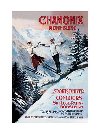 Chamonix Mont-Blanc Metal Üzerine Reprodüksiyon