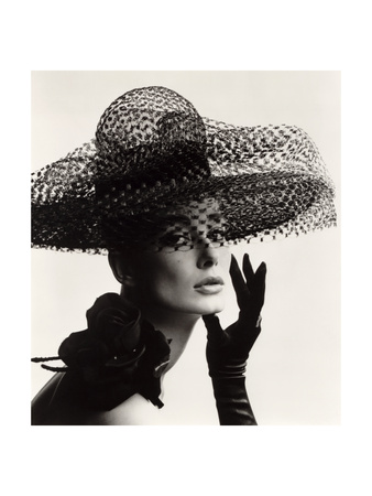 Tania Mallet in a Madame Paulette Stiffened Net Picture Hat, 1963 Metal Print by John French