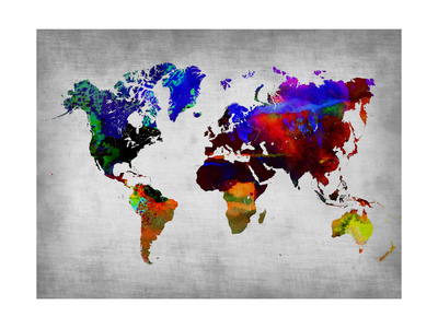 World Watercolor Map 12 Metal Üzerine Reprodüksiyon